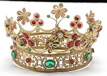 French Antique Gilt Brass Jeweled Crown