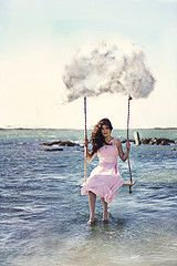 59/365 take me away (marciedawnphotography) Tags: ocean pink portrait cloud weather fashion waves dress surrealism balloon levitation hoover conceptual float magical levitationsurrealism