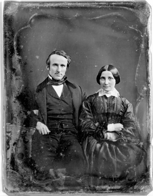 1852 daguerreotype wedding portrait of 19th U.S. President Rutherford B. Hayes and his bride, future First Lady Lucy Webb, taken in Fremont, Ohio.