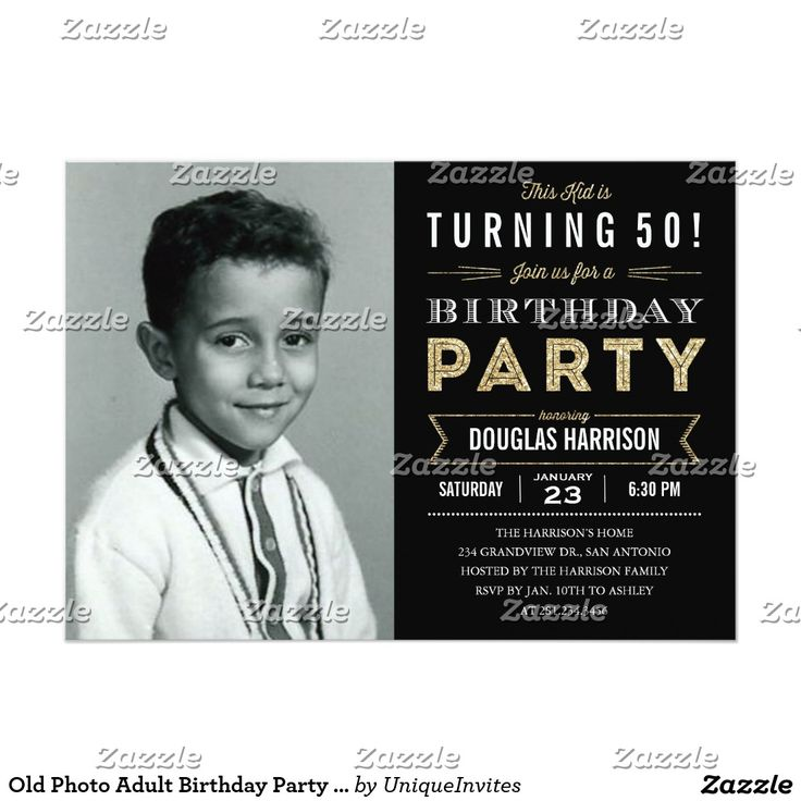 invitation words forst birthday party%0A Old Photo Adult Birthday Party Invitations  Black