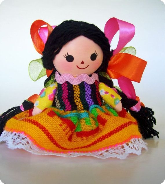 Paper Mache Mexican Inspired Mazahua Doll. paper mache figurine. by AmericaP on Etsy, $10.00