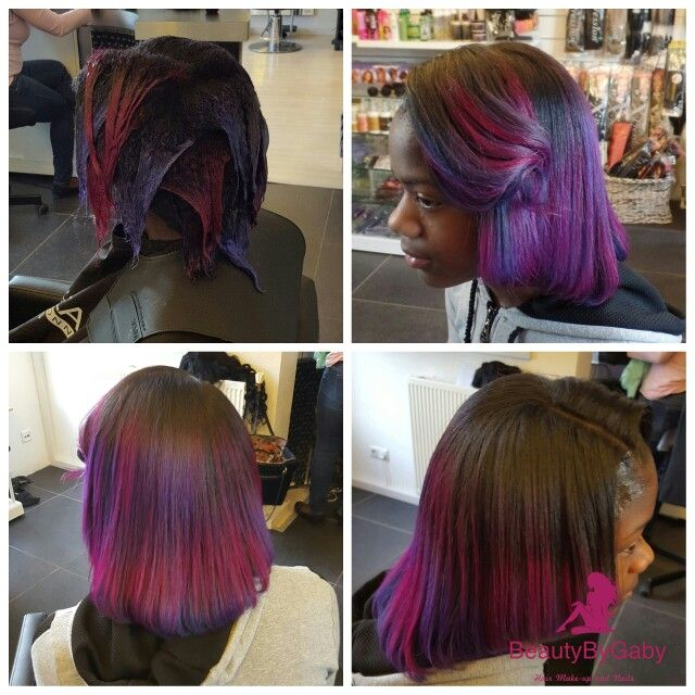 Hait collor and cut purple /pink