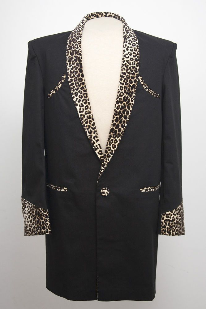 7e086832e284 TEDDY BOY DRAPE JACKET IN BLACK WITH LEOPARD PRINT TRIM 1950s ROCK 'N' ROLL