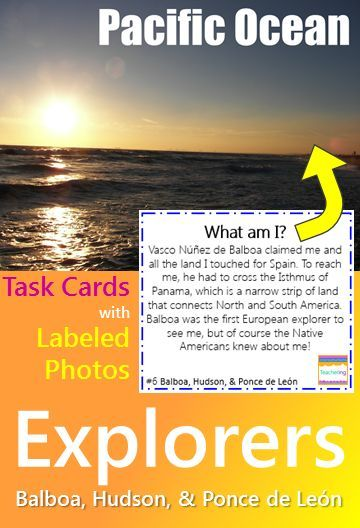 """Early Explorers { Balboa, Hudson, Ponce de Leon } task cards and vocabulary photo match. Play as scoot, search the room, or center. """"What am I"""" clues match to labeled photographs showing each vocabulary word related to Balboa, Hudson, or Ponce de Leon. Students infer about the described vocabulary and record answers. Supports ELL and visual learners! Vocab pictures included: England Florida Fountain of Youth maps mutiny obstacles Pacific Ocean Spain treason whaling"""