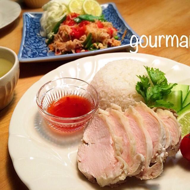 タイ料理が食べたくて 蒸し鶏の茹で汁で タイ米を炊いて、スイチリ+ナンプラーのタレで いただきました♪ ソムタムは 青パパイアなくて、切り干し大根(≧∇≦) - 146件のもぐもぐ - プーティの茹で時間3分♫ヘルシ~蒸し鶏  からのカオマンガイ、ソムタム などの夜ごはん♪ by gourmand