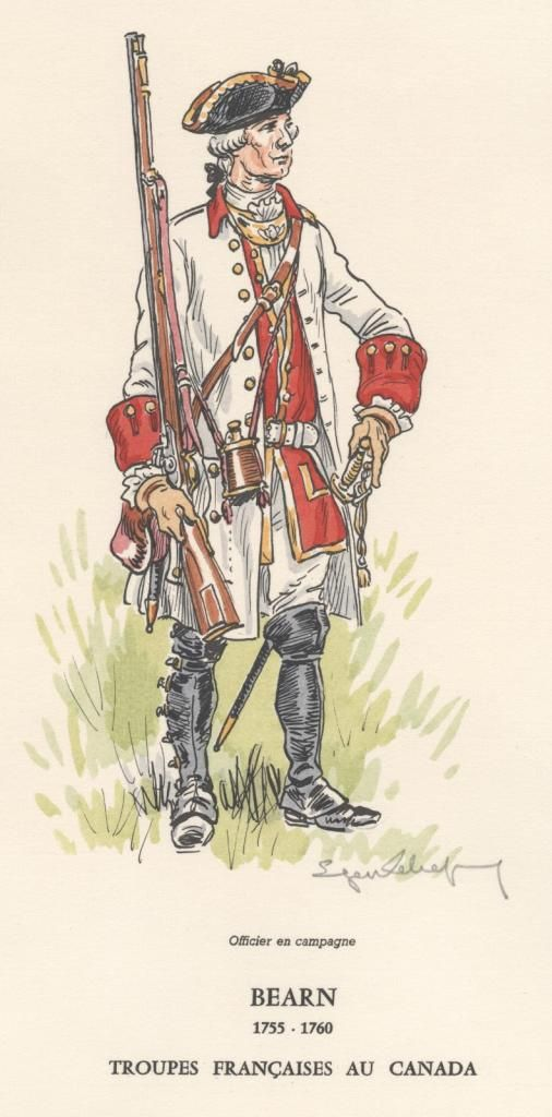 SYW- France: French troops in Canada - Officer Regiment Bearn 1755-1760, by Eugène Leliepvre.