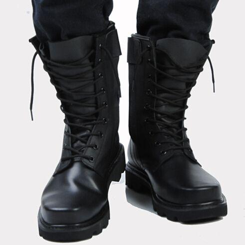 Mens Black High Top Genuine Leather Flats Platform Safety
