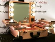 Mobile Makeup Trolley w/ LED Lighting - Rose Gold
