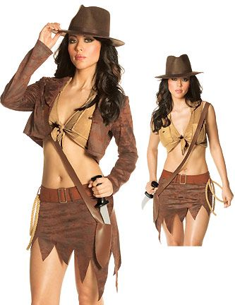 womens indiana jane costume sexy adventurer costumes brown - Halloween Indiana