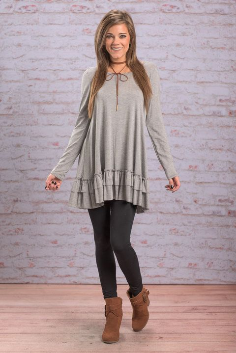 """Care To Unwind Tunic, Heather Gray"" We are so excited to present to you.... this fabulously ruffled tunic!!! That ruffled little hemline is so adorable!  #newarrivals #shopthemint"