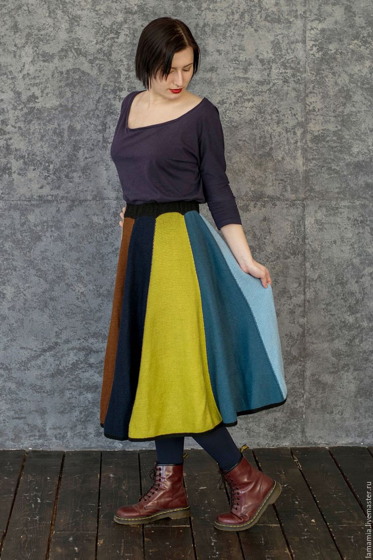 Купить Вязаная юбка миди клиньями - юбка длинная, юбка вязаная, юбка вязаная спицами