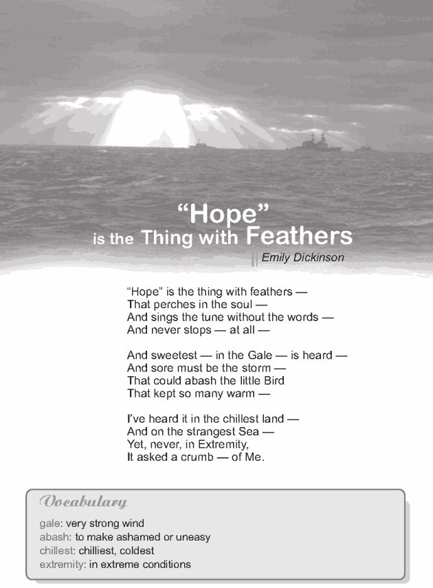 """essay on hope is the thing with feathers A summary of """" 'hope' is the thing with feathers—"""" in emily dickinson's dickinson's poetry learn exactly what happened in this chapter, scene, or section of dickinson's poetry and what it means."""