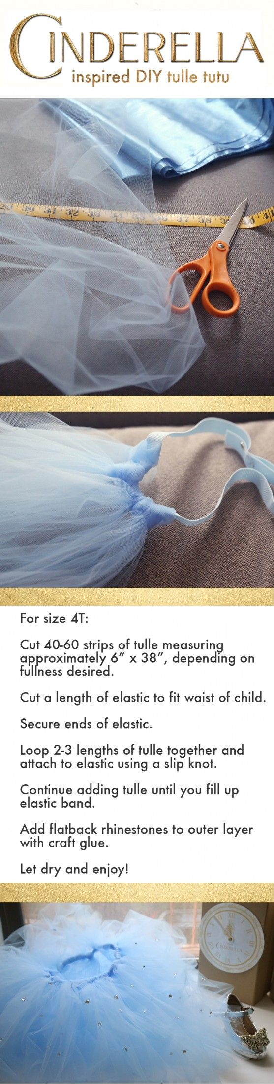 Making this Cinderella-inspired tutu is as easy as cutting strips of tulle and tying them on to an elastic band. =