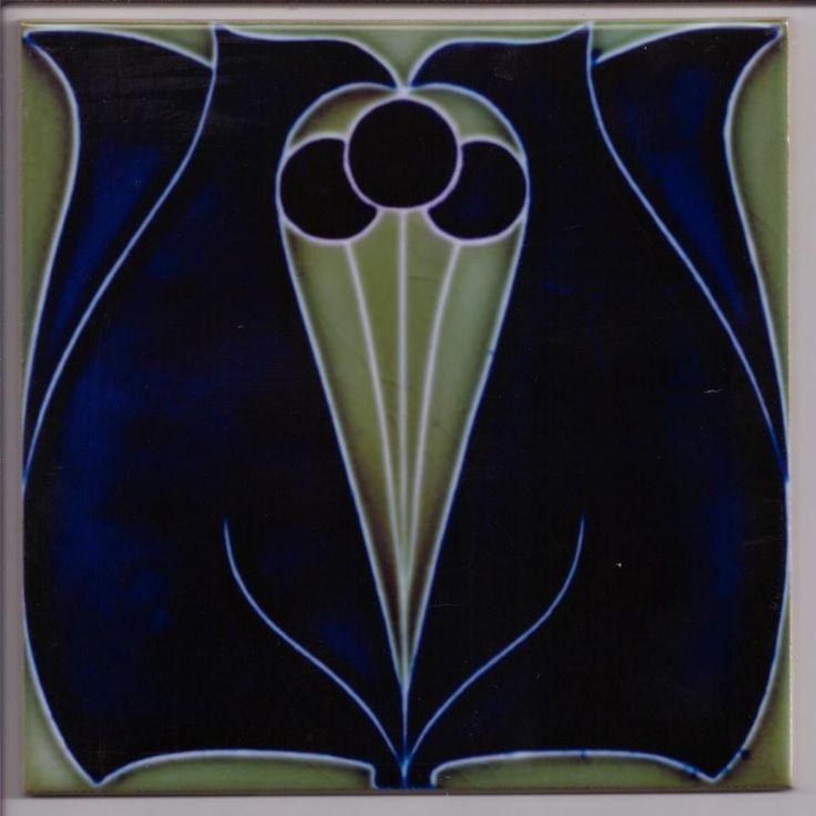 Art Nouveau Stylised Floral Ceramic tile ref 005
