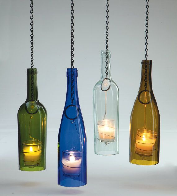 Hanging Wine Bottle Lantern by BlossomsNBlooms on Etsy