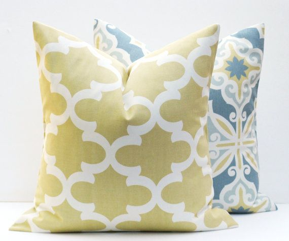 Decorative Pillow Covers. Gold Pillow. Grey Yellow Pillows. Blue Gold Lumbar Pillow Moroccan. Home Decor. Print Fabric both sides. Cushion