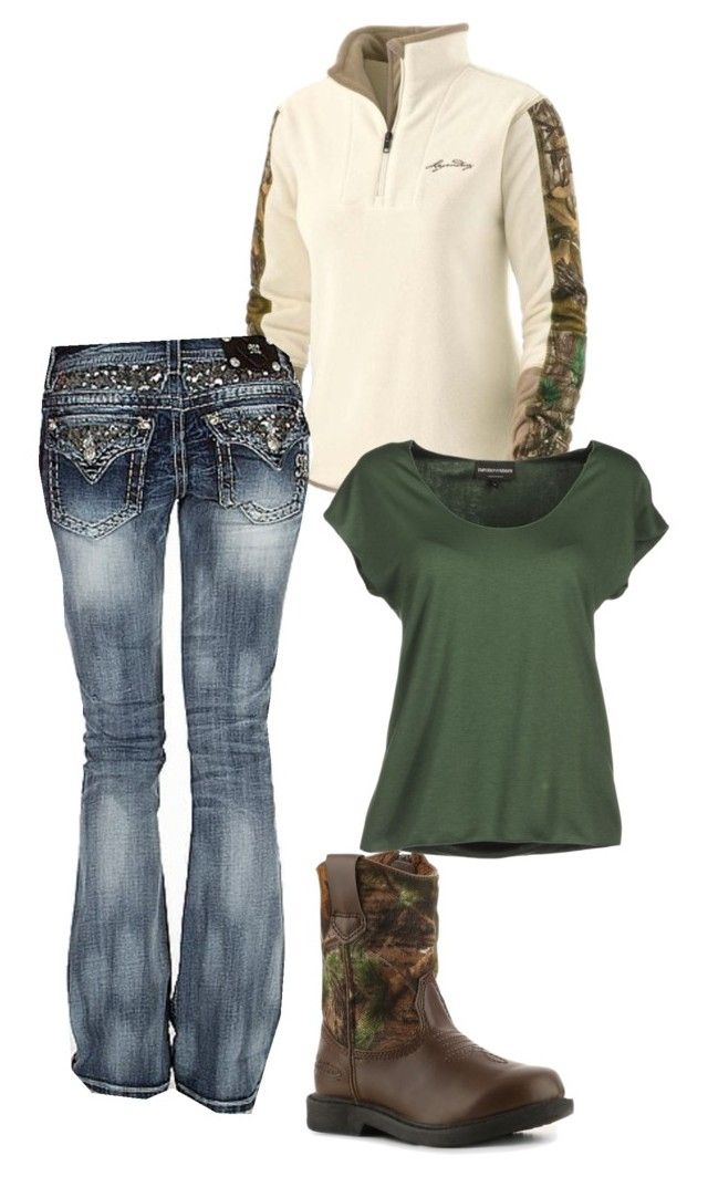 """realtree"" by amber-carroll88 ❤ liked on Polyvore featuring Realtree, Miss Me and Emporio Armani"