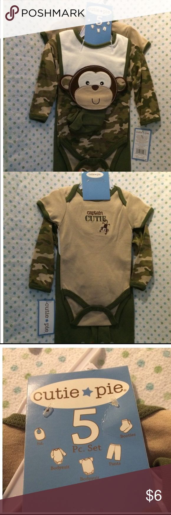 Camo baby boy 5 pc set This item is NWT, we had so many clothes for little guy and never got around to using this set. It's 5 pieces and all great condition, there is discoloration on the sleeve of one as pictured. It would most likely wash out, I just didn't want to remove tags. Matching Sets