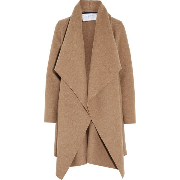 Harris Wharf LondonShawl-collar Wool Coat (£210) ❤ liked on Polyvore featuring outerwear, coats, jackets, coats & jackets, sand, beige coat, wool coat, oversized coat, drape coat and oversized collar coat