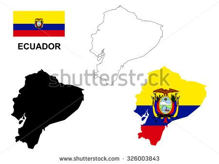 Ecuador map vector, Ecuador flag vector, isolated Ecuador