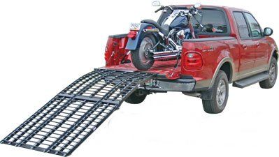 This motorcycle loading ramp system is and all aluminum, multi-purpose, heavy duty aluminum ramp system that works for motorcycles, Atv's, tractors, or just about anything that needs loading.