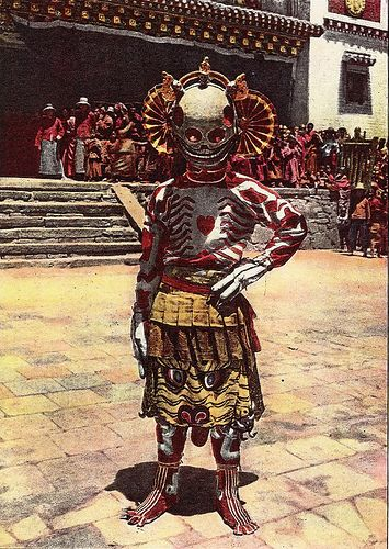 "marsiouxpial: Skeleton dancer, Choni (via jiulong) ""Skeleton dancer, Choni, originally uploaded by jiulong. In 1925 Joseph Rock visited Choni monastery in Gansu province, where he based himself for two years while undertaking his unsuccessful attempt to reach the mountains of Amnyi Machen. During that time he witnessed the ""devil dancers"" of Choni and heard about the savage Tibetan-Muslim wars that were taking place around Choni and Xining. He also visited nearby monaste"
