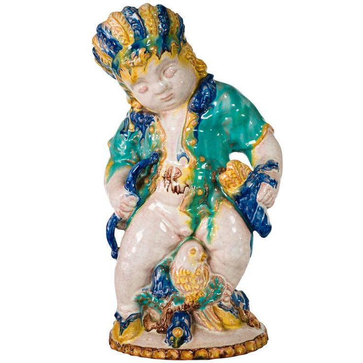 Michael Powolny Native American Putto by Sommerhuber-Steyr ca. 1925   From a unique collection of antique and modern ceramics at https://www.1stdibs.com/furniture/dining-entertaining/ceramics/
