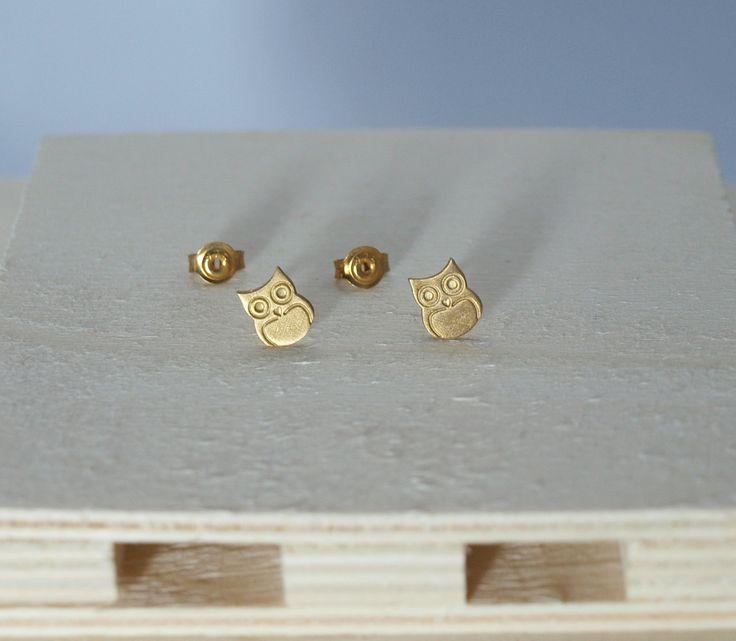 Stud Earrings, Owl Earrings, Owls, Gold-Plated Earrings, Gold Earrings, Rose Gold Earrings, Sterling Silver 925, Silver Earrings, Earrings by Fragkiski on Etsy