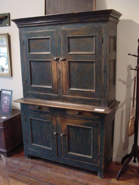 1830s stepback, dark blue paint. I like to have this door panel on new ·  Primitive Painted FurnitureCountry FurnitureAntique ... - 1639 Best Furniture Images On Pinterest Amish, Antique Furniture