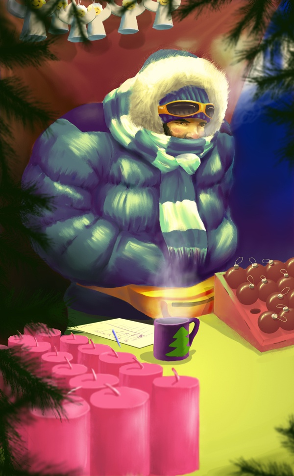 I will survive by Levente Kocsis, via Behance Title: I will survive!  A hard working Christmas decoration seller.