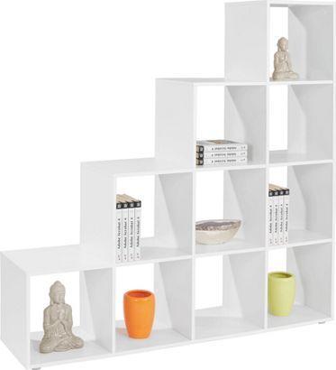 Pisa,Möbelix, Térelválasztó polc, fehér dekor kivitelben, 10 nyitott tárolóval, Szé/Ma/Mé: kb. 149/150/35cm