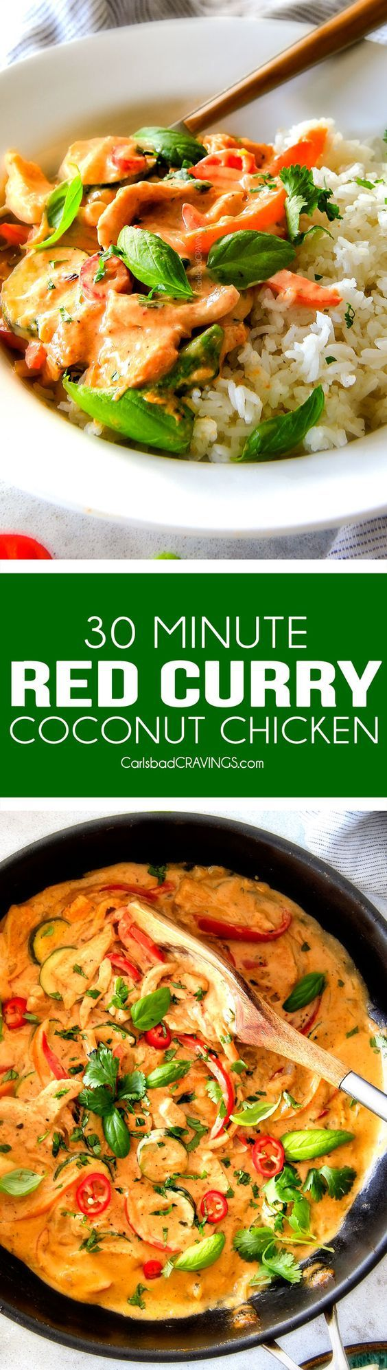 This less than 30 MINUTE Thai Red Curry Chicken tastes straight out of a restaurant! Its wonderfully creamy, bursting with flavor, so easy and all in one pot! Definitely a new fav at our house!