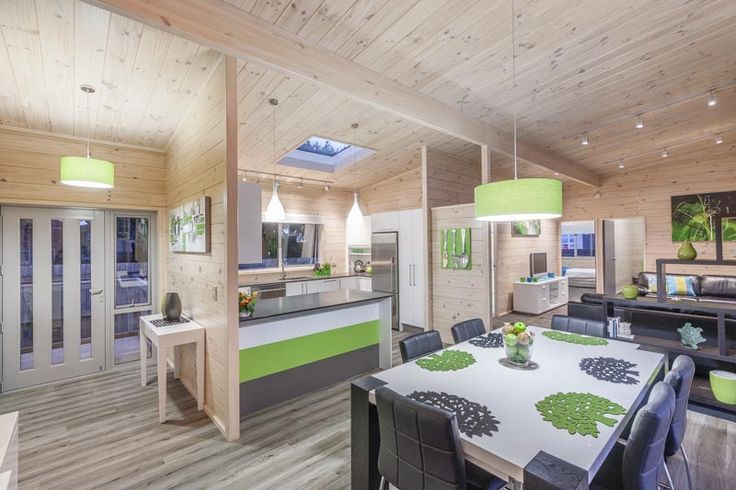 Lockwood solid blonded wood interior with skylight and beam for dramatic sarked ceilings.