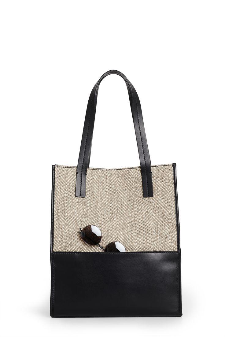 "Sara C. Milano ""SQUAREBOX 1"" Bag. Herringbone Ecru Fabric + Black Calf Leather. Handmade in Italy."