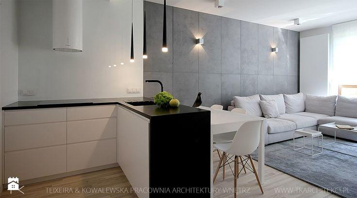 projekt wnętrz warszawa żoliborz - Średni salon z kuchnią, styl minimalistyczny - zdjęcie od TK Architekci