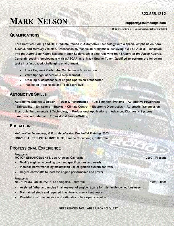 auto mechanic resume duties - Vatozatozdevelopment