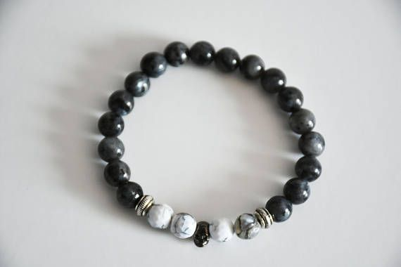 Hey, I found this really awesome Etsy listing at https://www.etsy.com/listing/544309366/larvikite-mala-bracelet-with-skull-charm