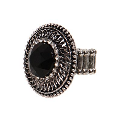 Black stone ring- a chunky ring is the perfect accessory for a plain black or white dress and unadorned sandals- like the white wedges. Play with monochrome by mixing black and metal accessories with white shoes and vice versa