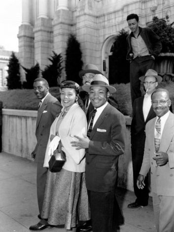 Rev. Dr. Martin Luther King Jr., and his wife, Coretta, are shown outside Circuit Court in Montogomery, Al. on March 22, 1956.  The Reverend was found guilty of conspiring the Montgomery Bus Boycott that began Dec. 5, 1955.  The others are not identified.  (AP Photo/Gene Herrick) Photo: GENE HERRICK, STF / Beaumont
