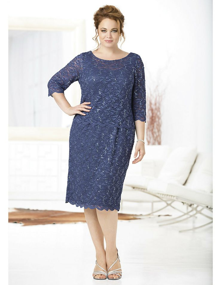 This beautiful lace allure layered dress by ulla popken is for Beautiful dress for wedding guest