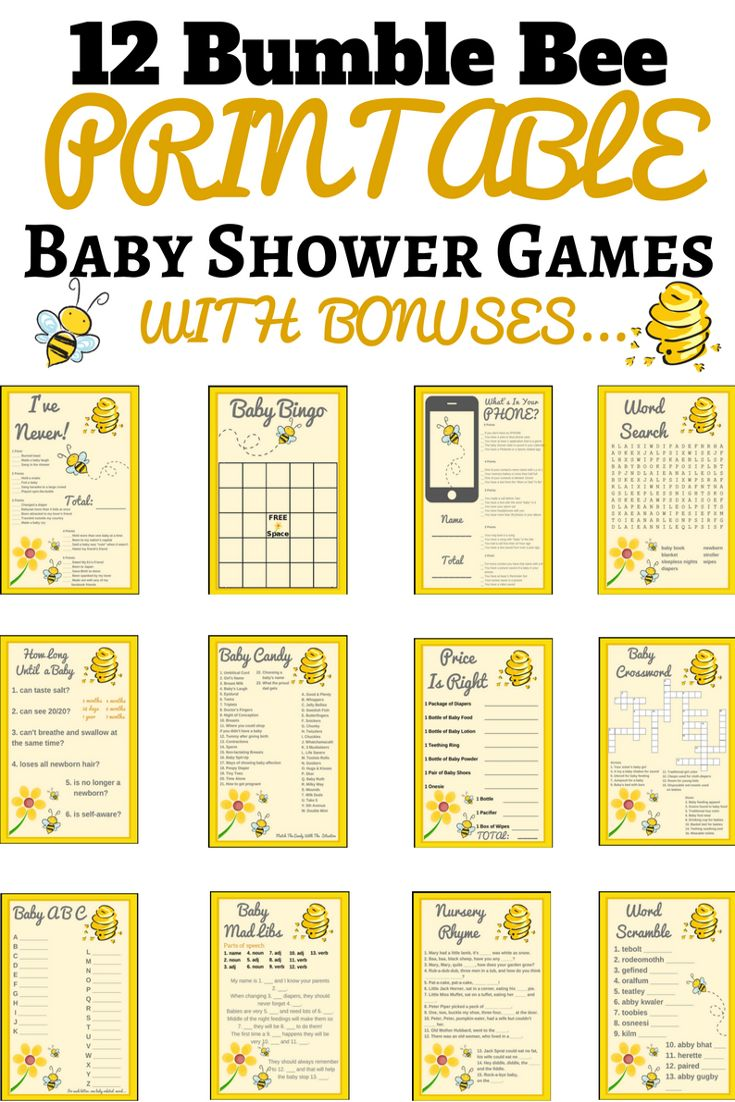 bumble bee baby shower ideas | bumble bee baby shower theme | Printable Baby Shower Games  This baby shower game set is not only super adorable but they so much fun!