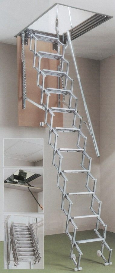 Dimes S11 Aluminium Concertina Loft Ladder -- The die cast aluminium concertina ladder comes complete with a steel hatch lining and MDF trapdoor as standard. It is also supplied with 1 telescopic handrail and 2 exit grab rails to assist the user. The Dimes S11 is suitable for ceiling heights from 2400mm to 3500mm and a range of loft opening sizes are available. It comes spring assisted for ease of operation. Each non-slip ladder tread measures 120mm deep and 350mm wide. # From £744.00 (Inc…