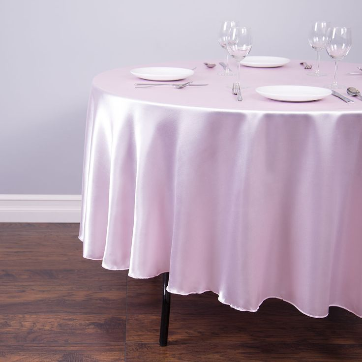 90 in. Round Satin Tablecloth Light Pink