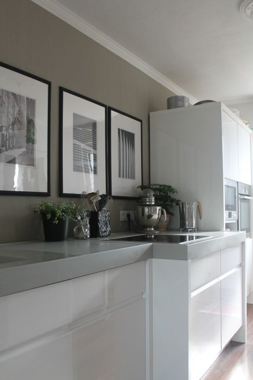 Griege wall, high gloss cabinets, grey surface