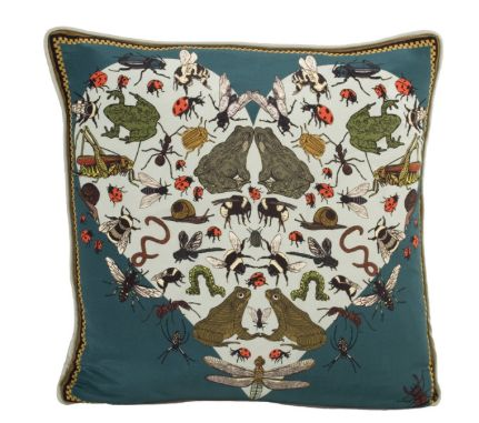 This Silken Favours Amphibian Amours luxury silk cushion would look amazing on any olive green sofa!  http://silkenfavours.bigcartel.com/product/amphibian-amoures-silk-cushion