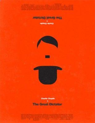 (Cartel interesante-vertical) Esta imagen, su mayor impacto y peso visual es la figura negra que contrasta con el fondo naranja, que proporciona dinamismo. Pero lo curioso es que si nos paramos a ver con mas detenimiento, nos damos cuenta de que el mostacho de Hitler es el eje de una simetría axial horizontal que al visualizarlo al revés, nos muestra a Charlie Chaplin, que es el actor que le imita en la película de el gran dictador, por lo que la misma imagen tiene doble sentido figura...
