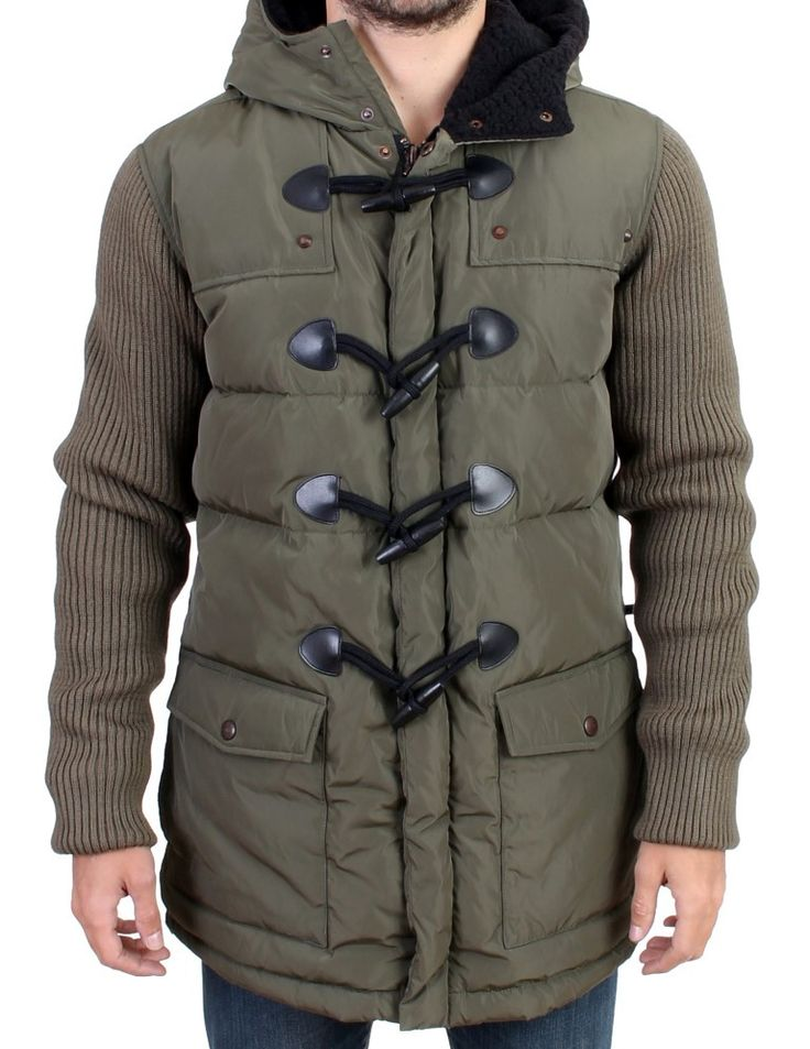 Green padded hooded parka jacket