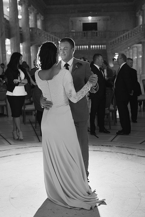 Fall Wedding in the Utah State Capitol Building, Bride and Groom First Dance | Brides.com