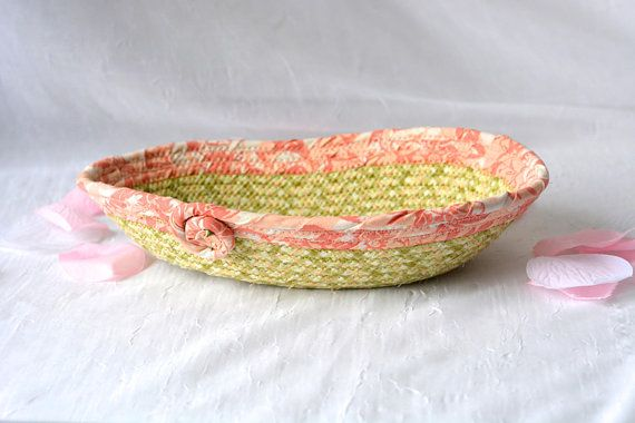 l Easter Peach Basket, Dresser Ring Tray, Cute Desk Accessory, Handmade Ring Dish, Vanity Tray, Change Bowl, Lovely Artisan Quilted Bowl    #wexfordtreasures #Easter #basket #bowl  #decoration #Easter #egg #hunt #gift #decorative #handmade #home #decor #etsyshop #artisan #coiled  #girl #quilted #fabric #cotton #rope