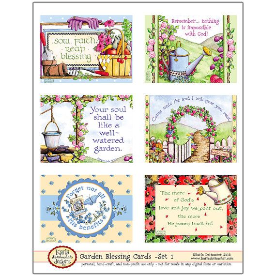Garden Blessing Cards  Set 1 INSTANT DOWNLOAD von karladornacher